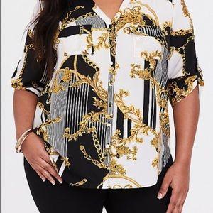 Torrid stripe baroque print blouse